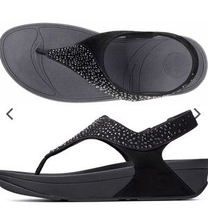 Fitflop Black Rhinestone Sandals Size 9